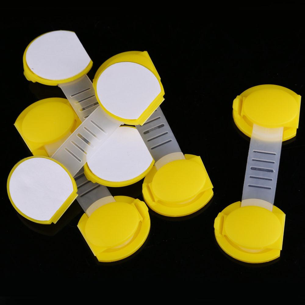 #Cu3 New 5pcs Set Baby Child Kids Drawer Cabinet Lock Short Style Safety Lock Yellow(China (Mainland))
