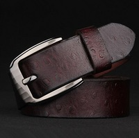 New 2015 Men's real leather belt Pure cowhide pin buckle ostrich grain belt  High Quality  Casual Strap Male Ceinture  Belts