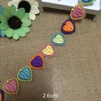 Wholesale -  rainbow heart pattern  Lace Trim  doll  headband  Crafts/ DIY Sewing  2.6cm