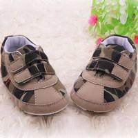 Lovely Toddler Boys Soft Sole Shoes Cotton Velcro Straps Khaki Crib Shoes Hot
