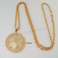 "Min order 10$ Can mix design/NEW 18K GOLD GP OVERLAY GP FILLED 24"" ROPE NECKLACE&MUSLIM ALLAH GOD PENDANT CZ LASER SYMBOL"