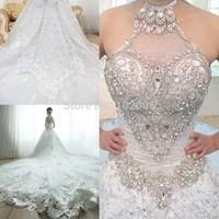 Real Luxury Wedding Dress Royal Train Bling Rhinestone Beading Top Lace Wedding Dresses Vestido De Noiva Casamento Bodas 2015
