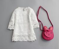2015 Girl's spring lace white dress , baby clothing girl , girls lace dress , 6pcs/lot   MWQ02