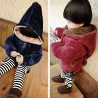 2015 winter fashion horn button child thickening outerwear overcoat male child outerwear boy jacket retail