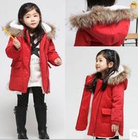 Girls Jackets & Coats Kids Jackets Outerwear with Hooded Zipper Pocket Cotton 2015 Winter Brand Children Outwear Coat