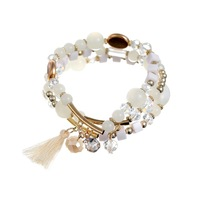 Min. order is 9 usd (can mix) New Fashion Elephant Tassel Pendant Beads White Bracelet Jewelry For Women High Quality