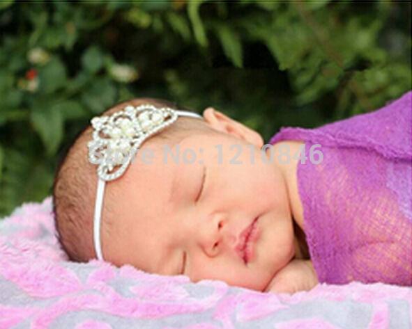 wedding Pearl Princess Tiara Headband Royal Baby Pearl Crown Baby Headband Christmas Gift Rhinestone children accessories(China (Mainland))
