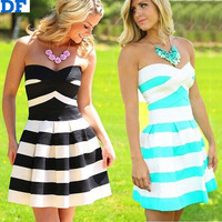 Preppy Style Casual Dress 2015 Wide Stripes Strapless Women Summer Dress Vestidos Free Shipping Plus Size Women Bandage Dress
