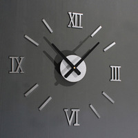 Metal Quality DIY Fun Wall Clock Roman Numeral Clock Gold Silver Colors 5 Pieces/lot Free Shipping