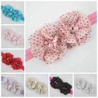 Double dots chiffon flowers infant headbands fashion chiffon flower with rhinestone headband 10PCS