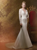 Custom Made Beaded Lace Long Sleeves Mermaid Wedding Dresses Keyhole Satin Backless Bridal Gowns Sexy NF226