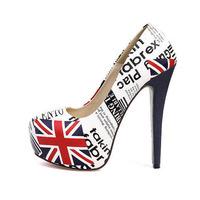 Hot selling 2015 Sexy Women High Heels round Toe England Flag Weddings shoes women pumps platform sandals WP0923