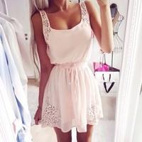 2015 New Pleated  White Summer sleeveless Lace Slash neck Sexy Summer Desigual Vestidos Femininos Party Casual Dress