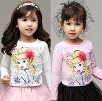 2015 Baby Girls Cotton Cartoon Floral  T-shirt Princess Sweet Girl Pattern Top  10 pieces/lot, Wholesale