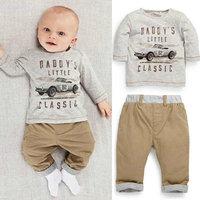 2pcs Kids Baby Children Boy Cotton Long Sleeve Shirt Tops + Long Pants Suit 1-3T