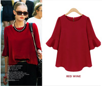 2015 Sale Women Blouses Europe And The United States Women's Seven Quarter Sleeve Loose Chiffon Shirt Bottoming Blouse In Summer