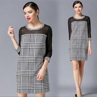XL-4XL Brand 2015 Spring Summer Women Voile Half Sleeve Plaid Straight Casual Dresses Ladies Designers Dress Plus size XXXXL