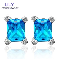 FVRE014 Christmas Gift Fashion Sapphire Jewelry Stud Earrings Platinum Plated Blue Big Crystal Earring Womens Jewellery