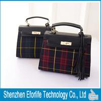 New Arrival Fashion Grid Pattern Women Handbag Female PU Leather Shoulder Messenger Bags Tassel bags