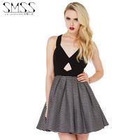 SMSS 2015 new spring and summer  fan deep V dew shoulder stripe color princess smoke plait sexy dress