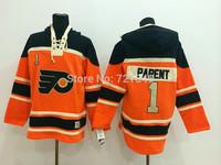 2015 New Old Time Men's Hockey Jerseys Philadelphia Flyers #1 Bernie Parent Fleece Hoodie Jersey Sewing Jersey Winter Jacket