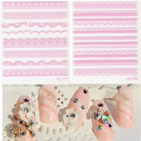 30 Sheets 3d French Manicure Tips Mixed Lace Pink Flower Nail Art Sticker Decal Beauty Creative Nail Art Decorations #NC065