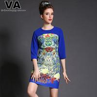 Women 2015 Spring Brand Patterns Print Casual Patchwork Blue Vintage Dresses vestidos femininos Plus Size XXXL 4XL 5XL P00147