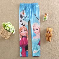 Retail,4-10Year Elsa Clothing New 2015 Children's clothing Printing Elsa Pants Leggings Girl's pants Anna Pants Trousers