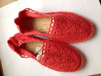 Free shipping High quality,2015 women cute fashion crochet   espadrilles  casual shoes  size 37, red color