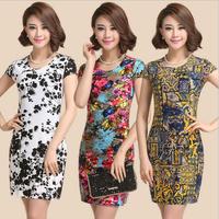 Fashion 2015 Women Summer New Short Sleeve Slim Casual Dress Print Women Sexy Dress Bodycon 22 colors Plus Size L-4XL