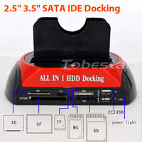 "5pcs Dual 2.5"" 3.5"" IDE SATA HDD Hard Drive Disk Dock Docking Station + Card Reader"