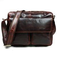 2015 New High Quality Vintage Casual 100% Genuine Oil Wax Leather Cowhide Men Messenger Bag Shoulder Cross Body Bag Bags For Men