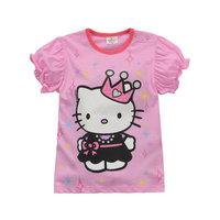 2015 New Summer Tops Tees Girls KT Cats T-shirt Baby 100% Cotton t-shirts Kids Printed tshirts Children Hello Kitty Clothing