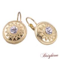 Fashion Women Luxury Shiny Crystal Clip Earrings Round Flower Pattern Brincos Jewelry