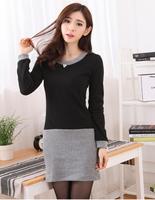 Hot Sale! Women Dress Winter Dress Fashion Pure Color 100% Cotton Casual Dress Long Sleeve Woolen Spring Autumn Dresses