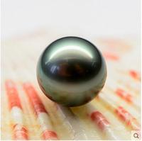 huge AAA+13mm  round tahitan black Pearl Half-naked bead hole