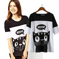 Free Shipping Europe Style England Hotsale Cat Meow Short T-Shirt Cute Cat Printing Tops For Women