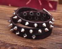 G119 Brown Rock R&B Sharp Studs Triple Wrap Leather Wristband Bracelet Cuff