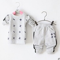 Free shipping spring of 2015 new baby boy and girl printing clothing set kids 2 piece suit wholesale GW143