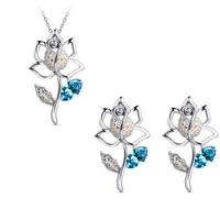New arrival set Women austria crystal earrings necklace twinset -