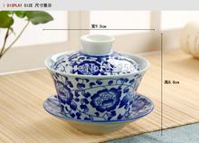 New 2015 Quality Jingdezhen Blue And White Ceramic Gaiwan Cup Chinese Porcelain Kung Fu Tea Set