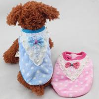 Pet Dog Warm Fleece Lace Pearl Vest Puppy Dots Jacket Coat Apparel Clothes Wholesale Free Shipping