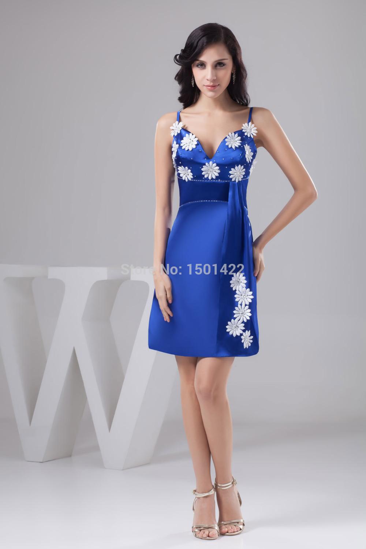 Royal Blue Cocktail Dress Contrast Color Flowers Empire Party Dress
