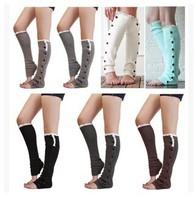 Retail Fashion Women Button Leg Warmer Cotton High Socks For Ladies 5 Colors Free Shipping