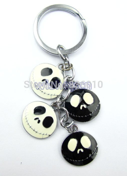 Wholesale 50pcs White&Black Jack Metal Zinc Alloy Key Chains Keyring with Pendants cyao83(China (Mainland))