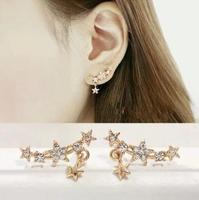 New Design Fashion Charm Plating Gold Star Geometry Round Crystal earrings jewelry Korea Earring for women AKE002