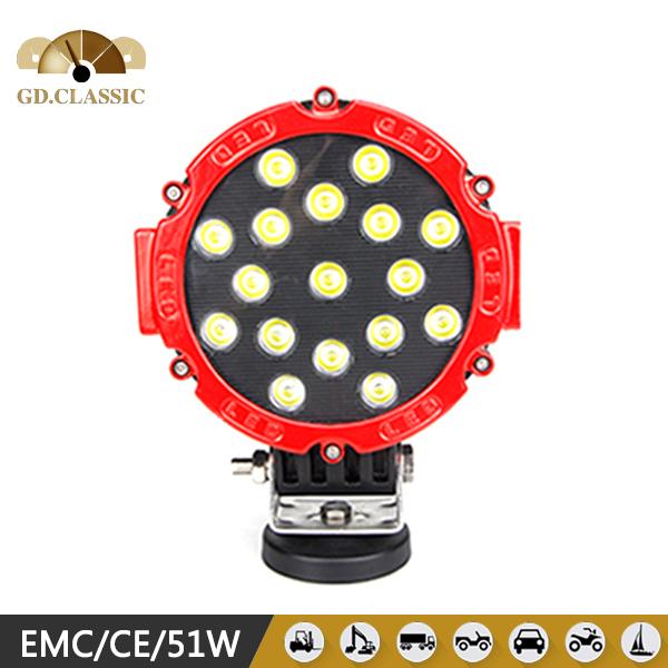 High power LED headlight 51W LED head light 7 inch LED work head lamp(China (Mainland))