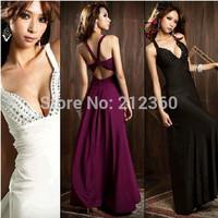 Brand dress super cheap Fashion sexy women V-neck low cut rhinestone racerback design long dress evening dress formal dress
