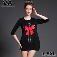 VA 2015 Women Brand Casual Mini Dress Cotton Loose Black Red Bow vestido Plus Size Dress xxxl 4XL 5XL vestidos femininos P0139