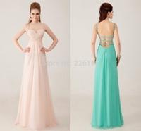 2014 New Arrival Free Shipping Elegant Custom Made Crystal Backless Lace-up Scoop Sleeveless Chiffon Evening Dresses_BRIDALK
